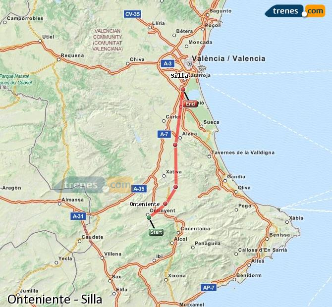 Enlarge map Trains Onteniente to Silla