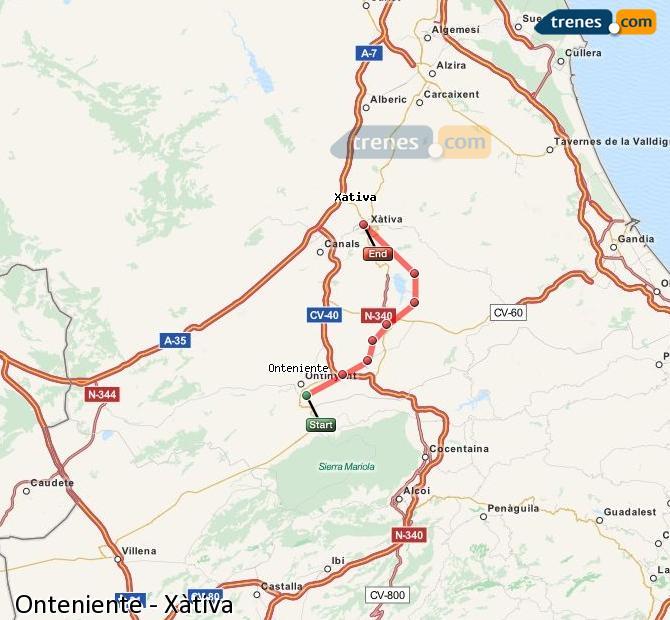 Ingrandisci la mappa Treni Onteniente Xàtiva