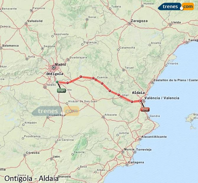 Enlarge map Trains Ontígola to Aldaia