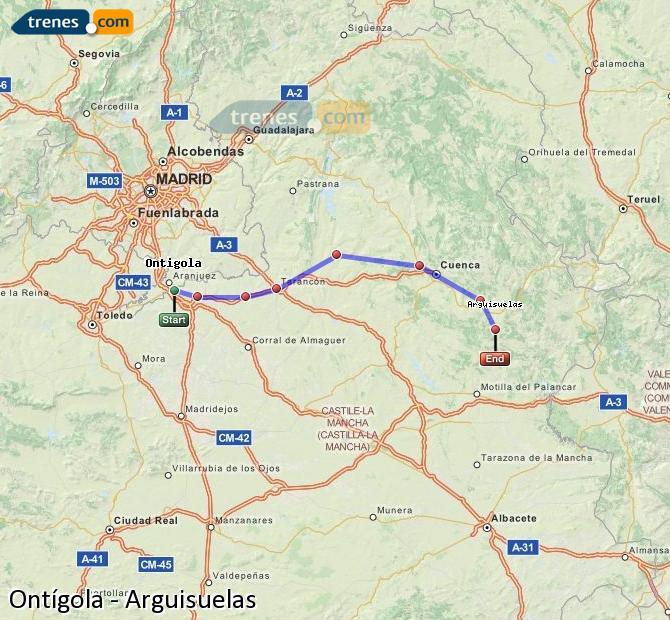 Karte vergrößern Züge Ontígola Arguisuelas