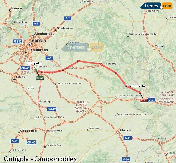 Ingrandisci la mappa Treni Ontígola Camporrobles