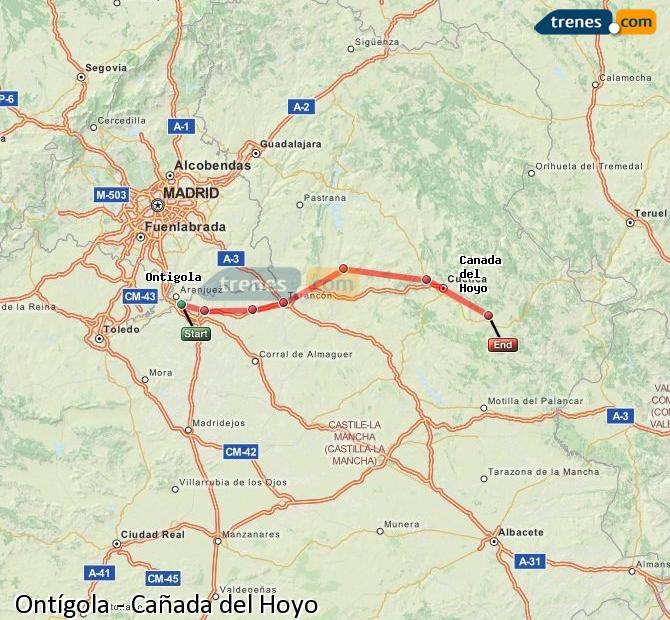 Enlarge map Trains Ontígola to Cañada del Hoyo