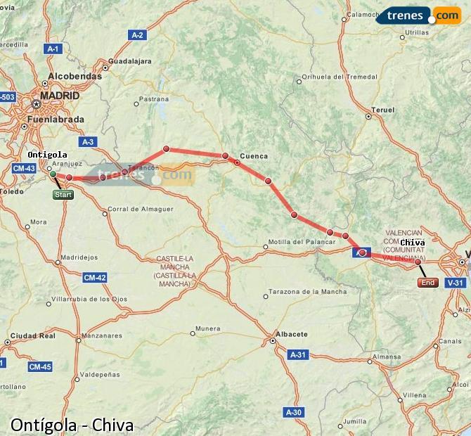 Agrandir la carte Trains Ontígola Chiva