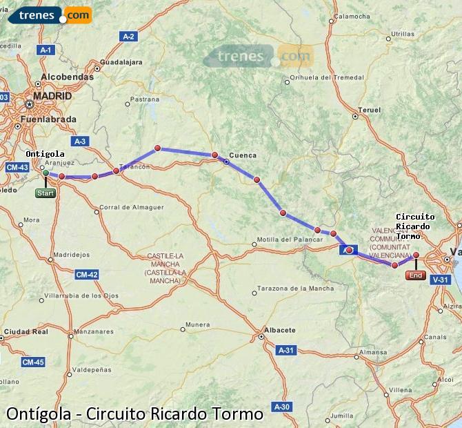 Ingrandisci la mappa Treni Ontígola Circuito Ricardo Tormo