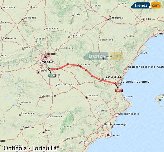 Karte vergrößern Züge Ontígola Loriguilla