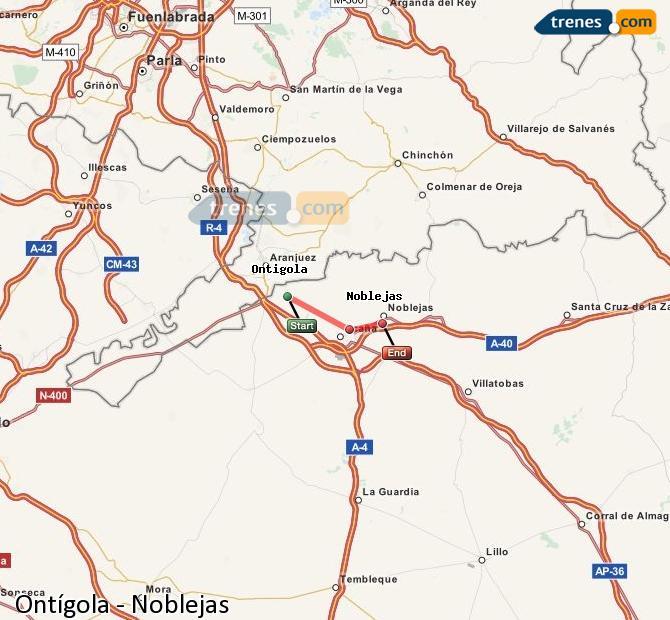 Ingrandisci la mappa Treni Ontígola Noblejas