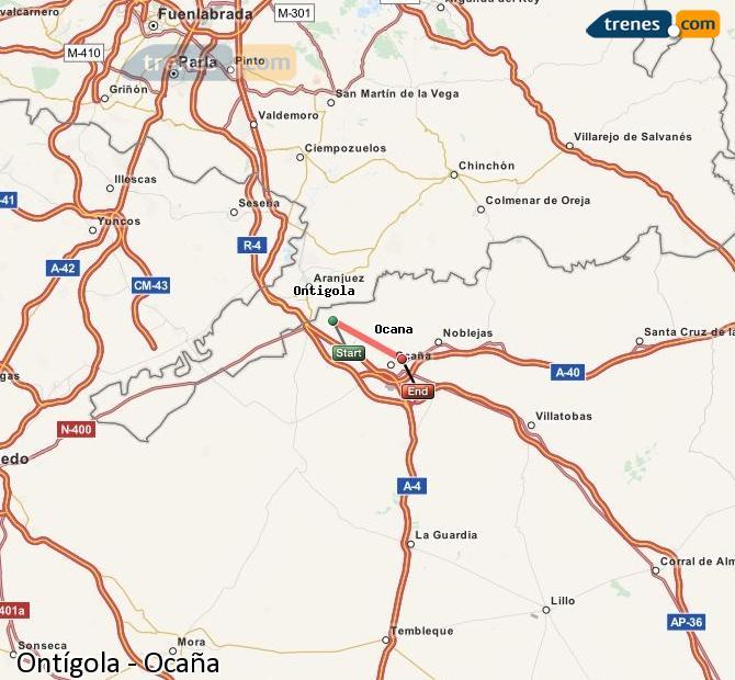 Enlarge map Trains Ontígola to Ocaña