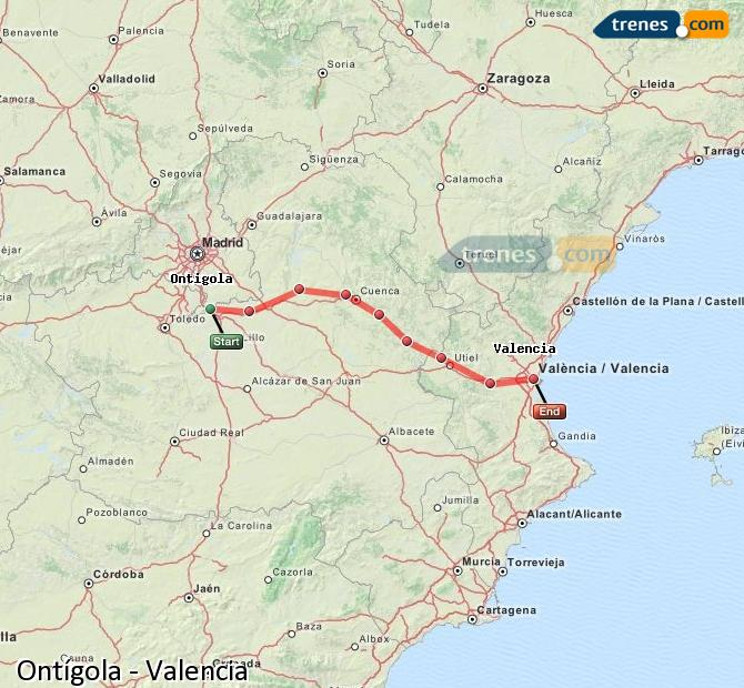 Enlarge map Trains Ontígola to Valencia