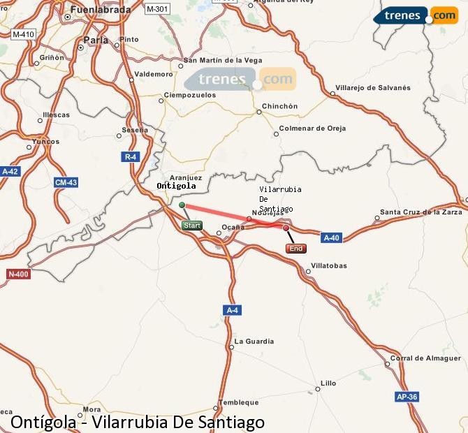 Ampliar mapa Comboios Ontígola Vilarrubia De Santiago