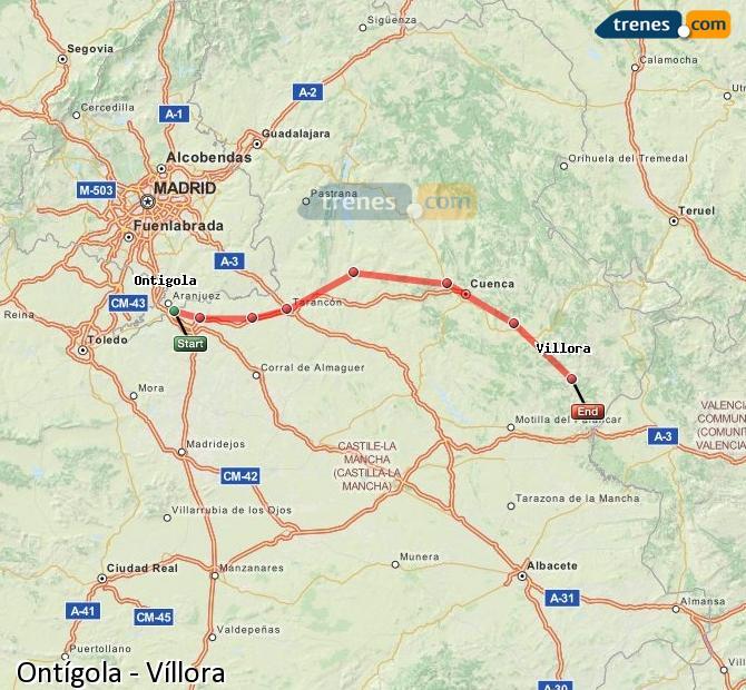 Karte vergrößern Züge Ontígola Víllora