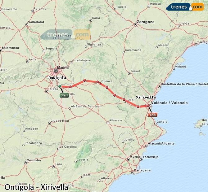 Karte vergrößern Züge Ontígola Xirivella
