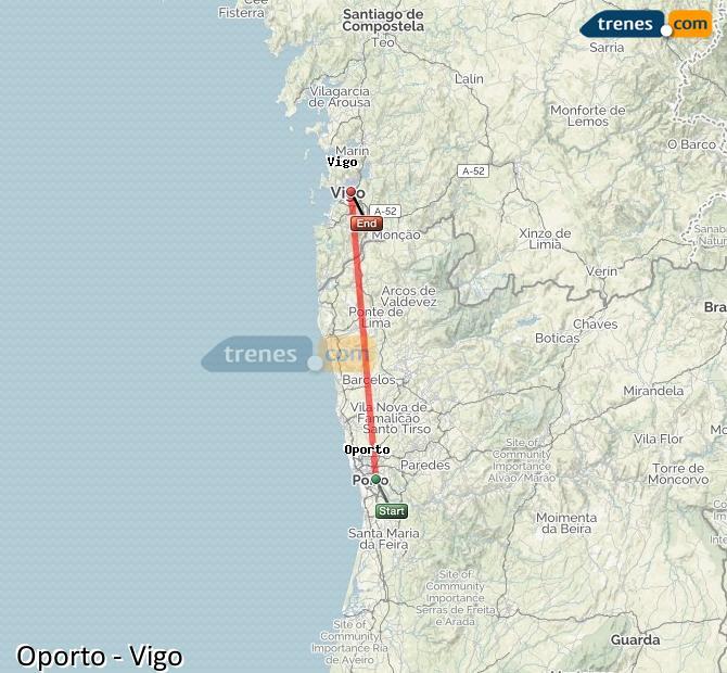 Ampliar mapa Trenes Oporto Vigo