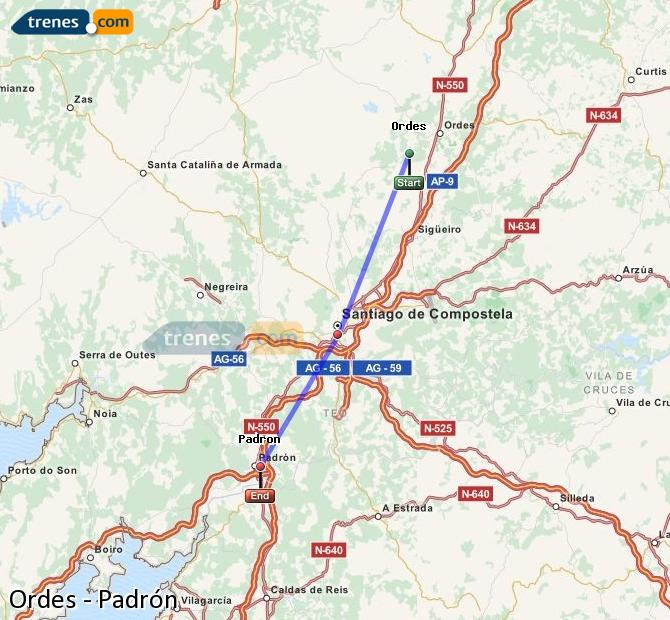 Enlarge map Trains Ordes to Padrón