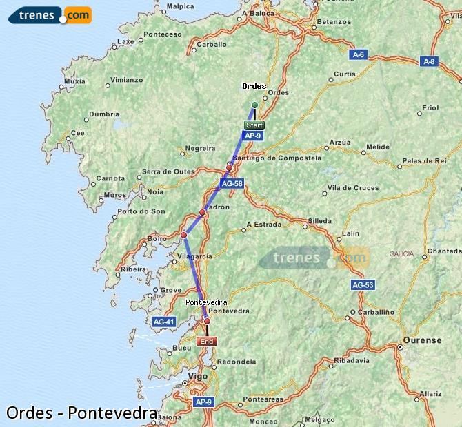 Enlarge map Trains Ordes to Pontevedra
