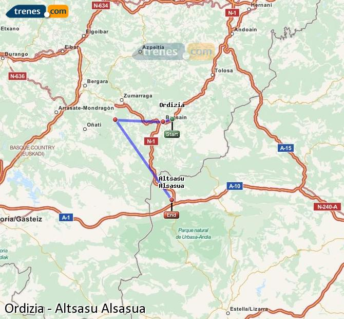 Agrandir la carte Trains Ordizia Altsasu Alsasua