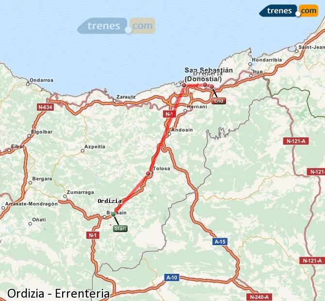 Ampliar mapa Trenes Ordizia Errenteria