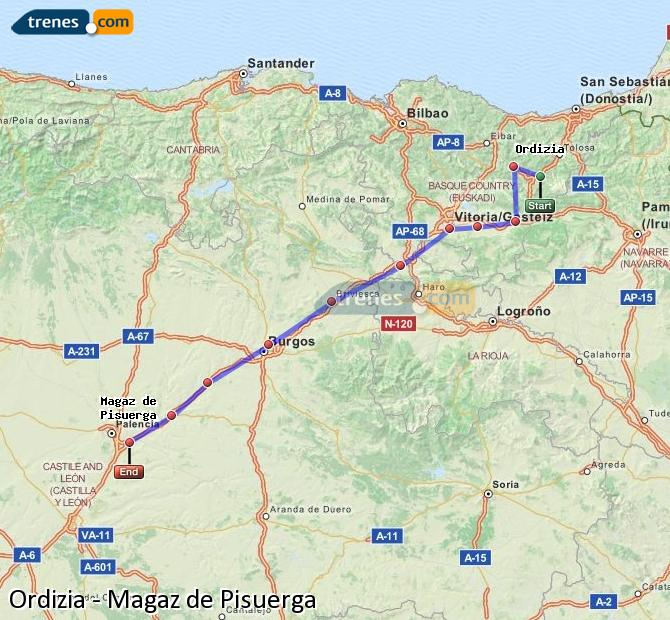 Karte vergrößern Züge Ordizia Magaz de Pisuerga