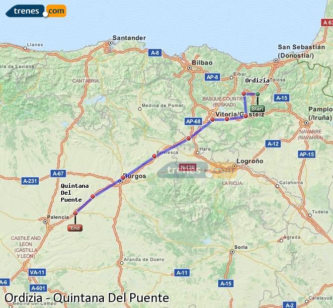 Agrandir la carte Trains Ordizia Quintana Del Puente