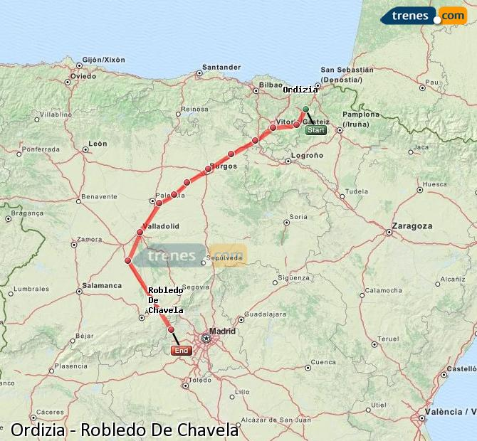 Enlarge map Trains Ordizia to Robledo De Chavela
