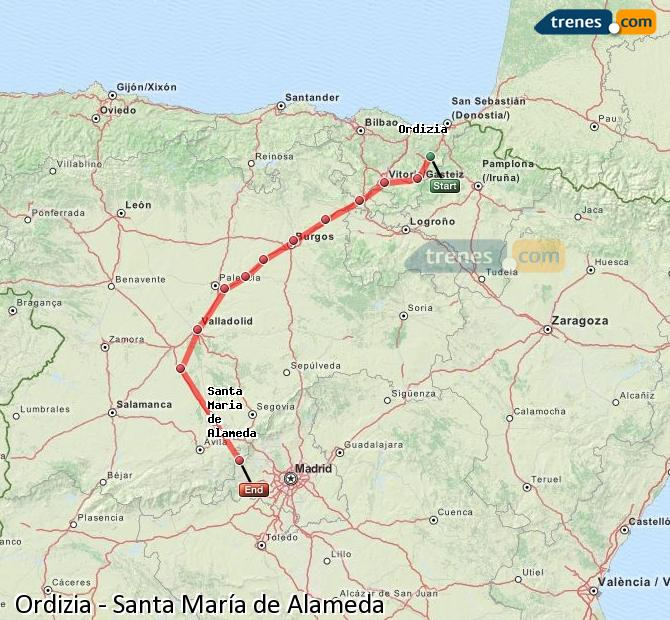Ampliar mapa Comboios Ordizia Santa María de Alameda