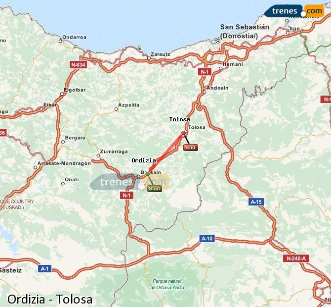 Ampliar mapa Comboios Ordizia Tolosa