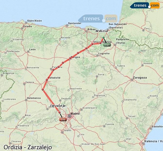 Ampliar mapa Trenes Ordizia Zarzalejo