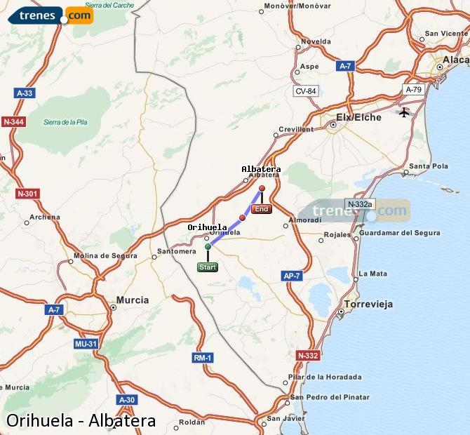Ampliar mapa Comboios Orihuela Albatera