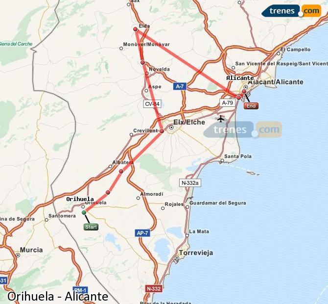 Enlarge map Trains Orihuela to Alicante