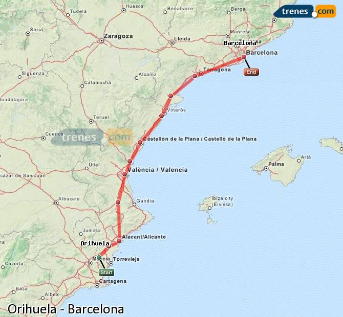 Agrandir la carte Trains Orihuela Barcelone
