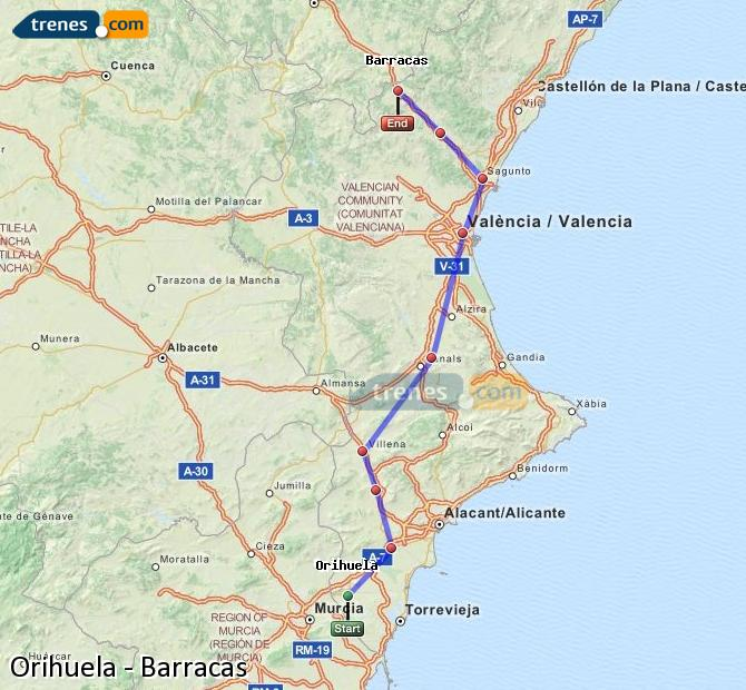 Enlarge map Trains Orihuela to Barracks
