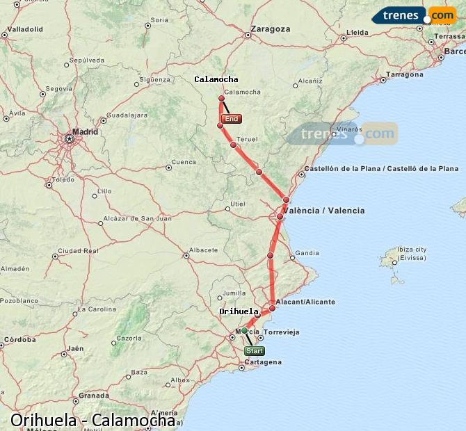 Agrandir la carte Trains Orihuela Calamocha