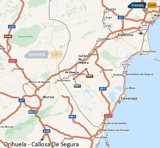 Enlarge map Trains Orihuela to Callosa De Segura
