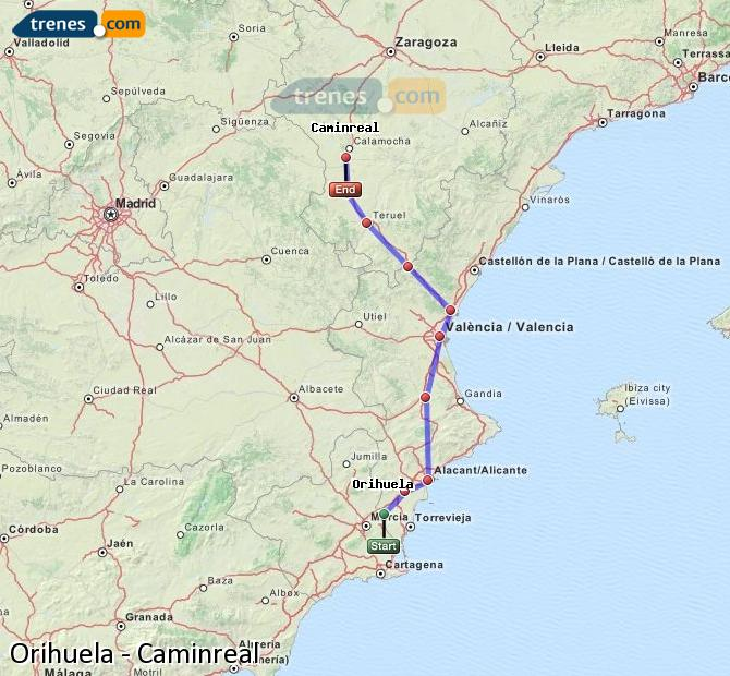 Enlarge map Trains Orihuela to Caminreal