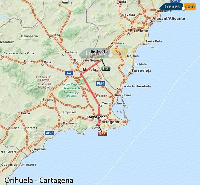 Ampliar mapa Trenes Orihuela Cartagena