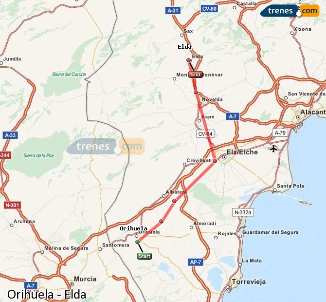 Enlarge map Trains Orihuela to Elda