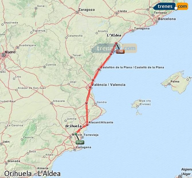 Agrandir la carte Trains Orihuela L'Aldea