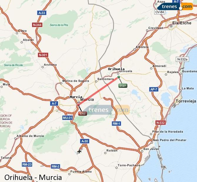 Agrandir la carte Trains Orihuela Murcia