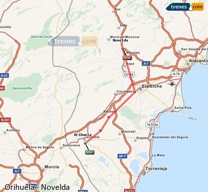 Karte vergrößern Züge Orihuela Novelda