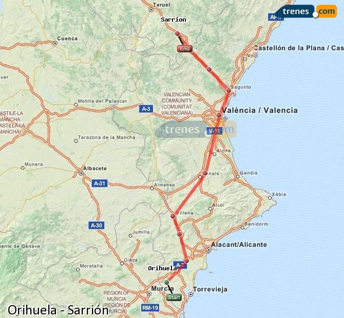 Agrandir la carte Trains Orihuela Sarrión
