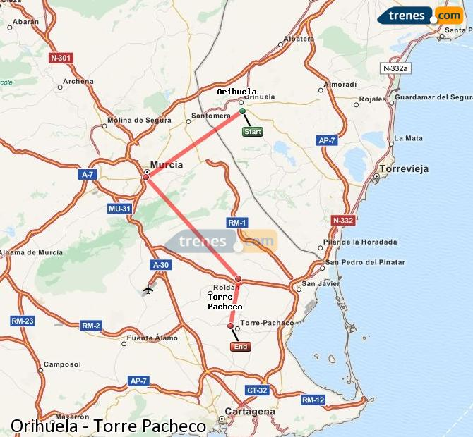 Enlarge map Trains Orihuela to Torre Pacheco