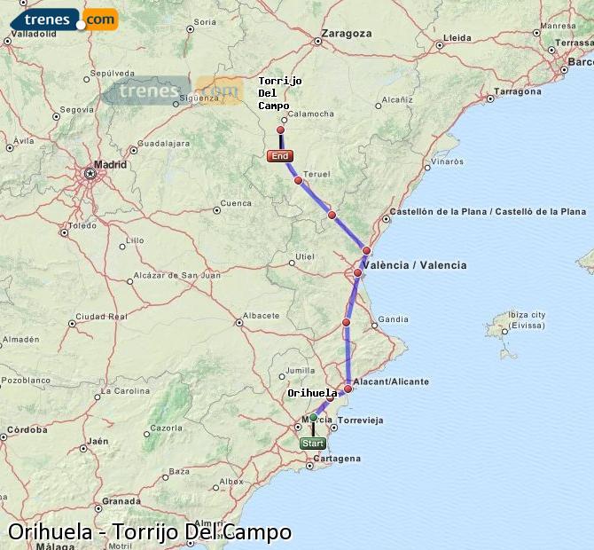 Ampliar mapa Trenes Orihuela Torrijo Del Campo