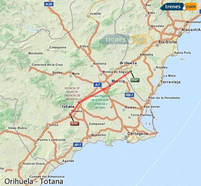 Enlarge map Trains Orihuela to Totana
