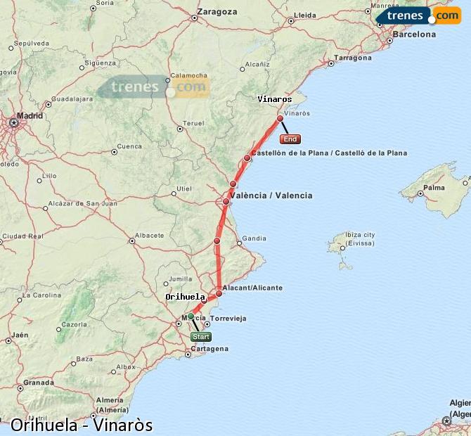 Karte vergrößern Züge Orihuela Vinaròs
