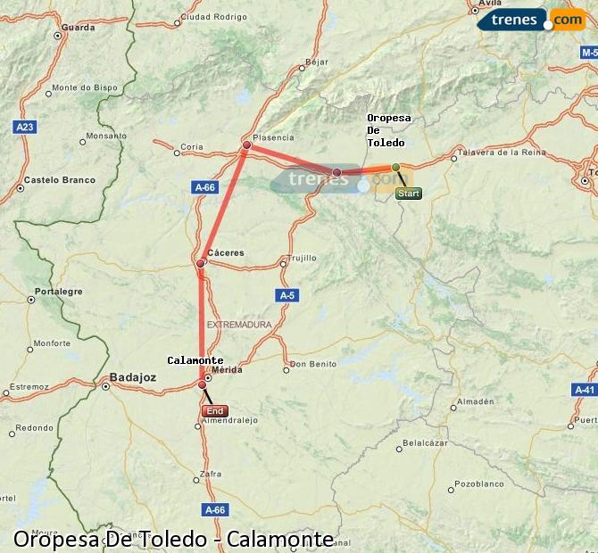 Enlarge map Trains Oropesa De Toledo to Calamonte