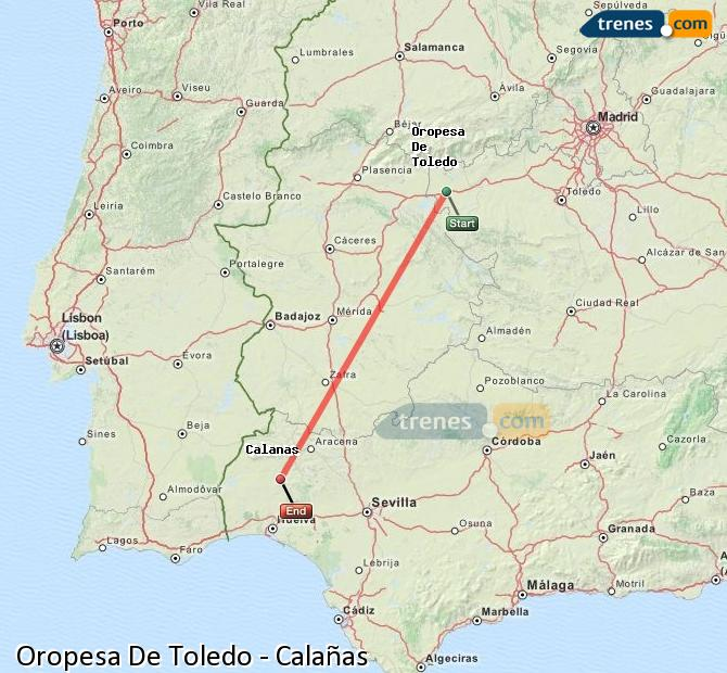 Enlarge map Trains Oropesa De Toledo to Calañas