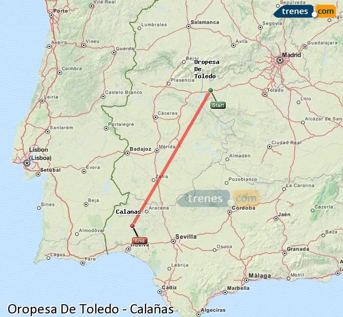 Ampliar mapa Comboios Oropesa De Toledo Calañas