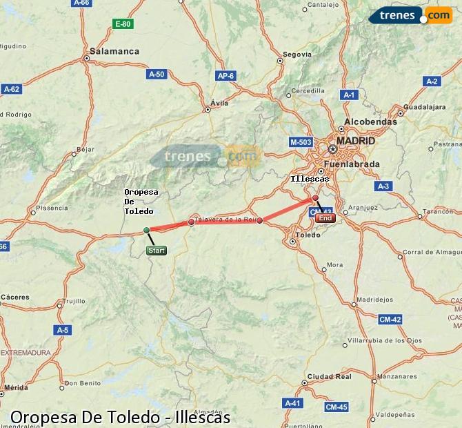 Enlarge map Trains Oropesa De Toledo to Illescas