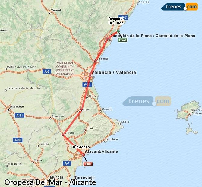 Enlarge map Trains Oropesa Del Mar to Alicante