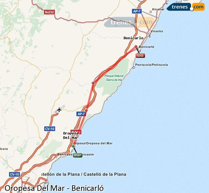 Enlarge map Trains Oropesa Del Mar to Benicarló