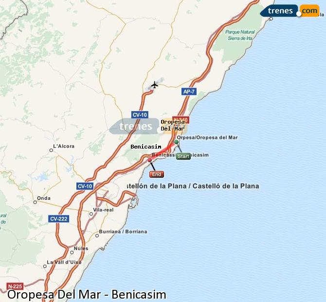 Enlarge map Trains Oropesa Del Mar to Benicasim